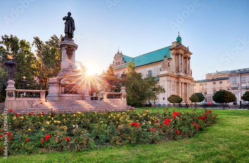 Zdjęcia na płótnie, fototapety na wymiar, obrazy na ścianę : Warsaw - Adam Mickiewicz monument at Krakowskie Przedmiescie Str