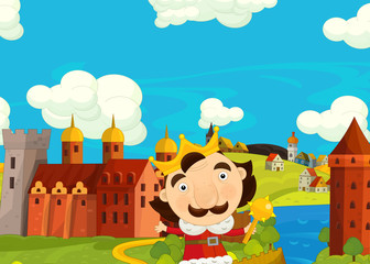 Cartoon medieval scene with king in front of his castle - image for different fairy tales - illustration for children