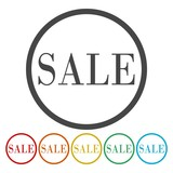 Round sale sticker on white background