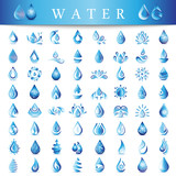 Water Drop Icons Set - Isolated On White Background. Vector Illustration, Graphic Design. For Web, Websites, Print Material