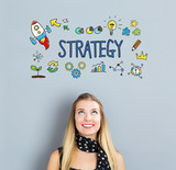 Strategy concept with happy young woman