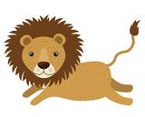 Lion cartoon icon. Wild animal theme. Isolated design. Vector illustration