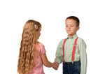 boy and girl shaking hands with each other
