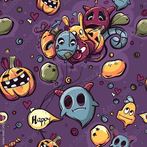 Cotton fabric Seamless texture hand-drawn Halloween doodles