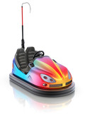 Colorful electric bumper car over white reflective background