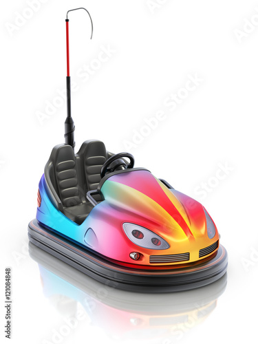 Fotobehang Amusementspark Colorful electric bumper car over white reflective background