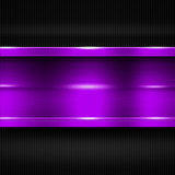 purple metal banner on black carbon fiber. metal background.