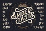"""Vintage decorative font named """"Amber Taste"""" with label design and background pattern"""