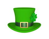 Lucky green hat with clover for Saint Patrick