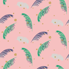 Green blue banana palm leaves seamless vector pattern on pink background. Tropical banana jungle leaf.