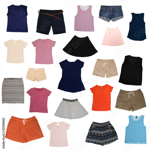 Poszter collage of clothes on a white background
