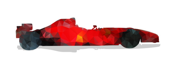 Formula racing car. Red abstract geometric vector illustration.
