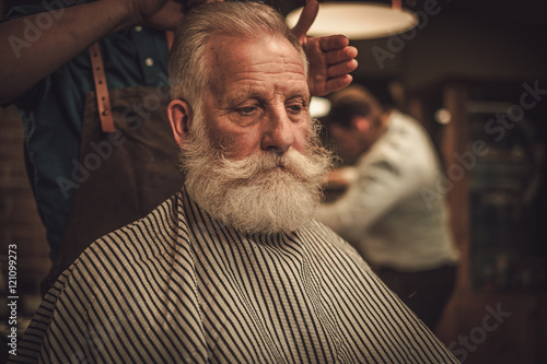Confident senior man visiting hairstylist in barber shop. Poster