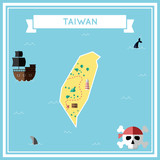 Flat treasure map of Taiwan, Republic Of China. Colorful cartoon with icons of ship, jolly roger, treasure chest and banner ribbon. Flat design vector illustration.