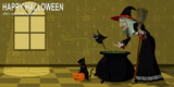 Witch and her pets is preparing some soup for halloween celebration