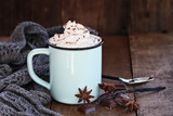 Cup of hot cocoa or coffee for Christmas with whipped cream, shaved chocolate, vanilla pod, spices and gray scarf against a rustic background. Shallow depth of field with selective focus on drink.