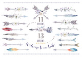 Watercolor ethnic boho set of arrows, feather and flower. Tribe  - 121113866