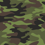 Fototapety Camouflage pattern background seamless vector illustration. Classic clothing style masking camo repeat print. Green brown black olive colors forest texture