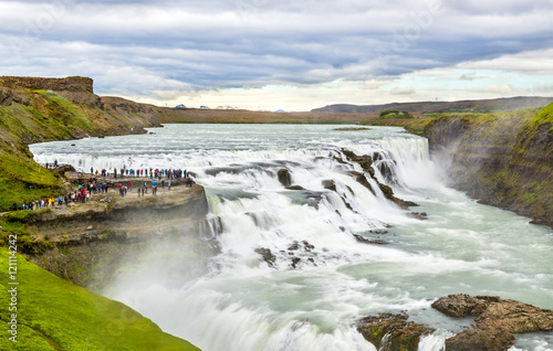 Staande foto Scandinavië Gullfoss Waterfall in the canyon of Hvita river - Iceland