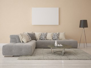Corner sofa in a modern living room with decorative plaster .