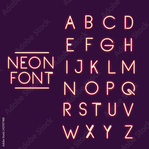 neon font alphabet icon. Text typography decoration and advertising theme. Colorful design. Vector illustration
