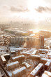 Panorama view of Moscow, Russia. Aerial view on Horoshevo district. Early winter morning, sunrise.
