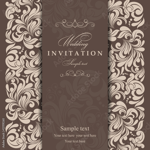 Invitation cards in an old-style beige and brown - 121119260