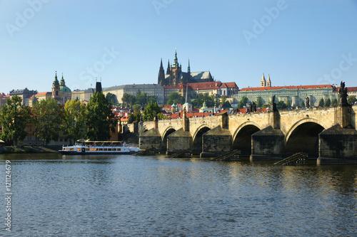 Poster Prague, Prag, Karlsbrücke, Burg, Hradschin, Veitsdom, Moldau, Textraum, Copy spa