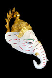 White Ganesha Thailand Khon mask head with Black isolated background