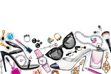Fototapety Border of various watercolor female accessories. Makeup products