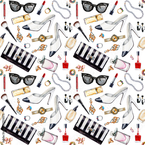 Materiał do szycia Seamless watercolor pattern with various female accessories.