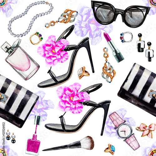 Materiał do szycia Seamless watercolor pattern with various female accessories