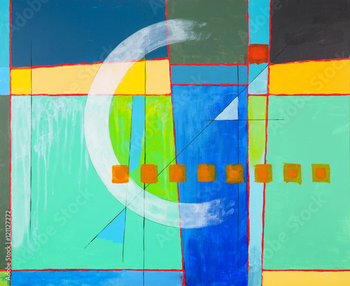 A geometric abstract painting, with white arc. - 121127272