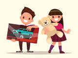 Baby gifts. Children with toys. Vector illustration