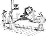Political cartoon of a smiling man jumping high because 'she won'. - 121134045