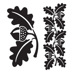 Black and white stylized illustration of acorns and oak leaves. Isolated on white background.