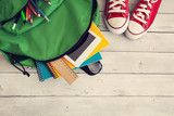 School backpack on wooden background - 121137637