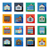 Government Buildings Icons In Colorful Squares