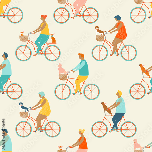 Materiał do szycia Funny cartoon bicycle riders group seamless pattern in vector.