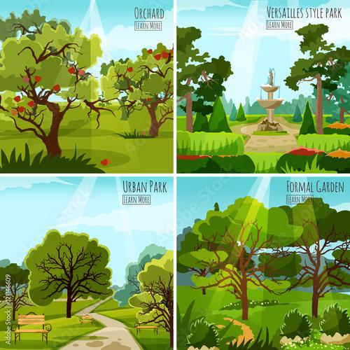 Spoed canvasdoek 2cm dik Turkoois Garden Landscape 2x2 Design Concept