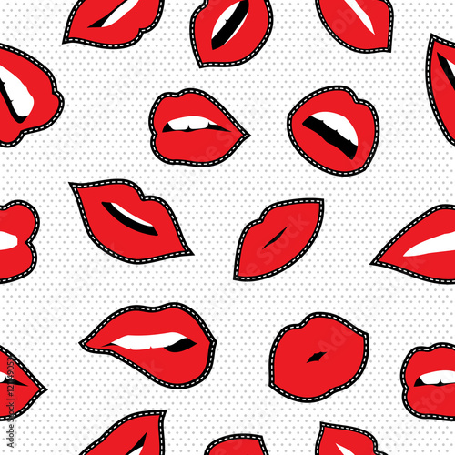 Cotton fabric Seamless pattern with lipstick kiss stitch patches