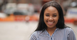 Young black woman in city smile happy face portrait - 121149239