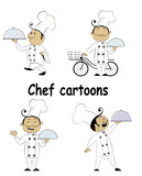 Set of fun cartoon chief cook