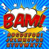 Fototapety Comic alphabet set. Letters, numbers and figures for kids' illustrations, websites, comics, banners