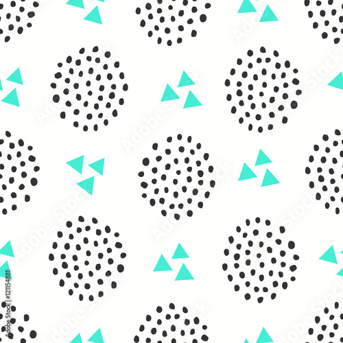 Cotton fabric Seamless pattern with geometric shapes in green and black on white background.