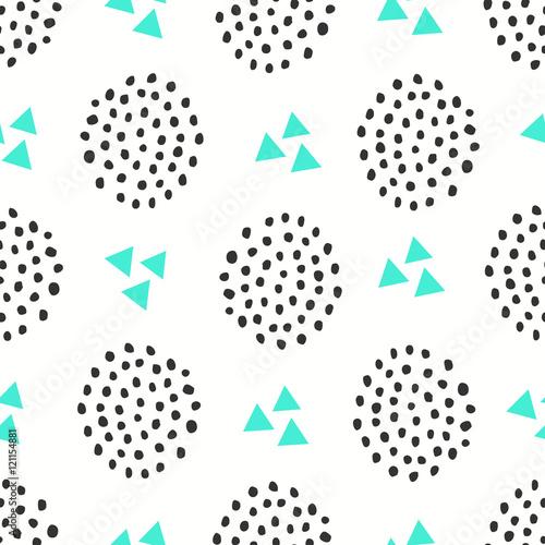 Stoffe zum Nähen Nahtlose Muster mit geometrischen Formen in grün und schwarz auf weißem Hintergrund.