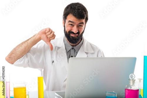 Scientist Man Doing Bad Signal