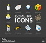 Isometric outline icons set 60