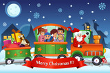 Kids and Santa Claus on a Train Carrying Christmas Presents
