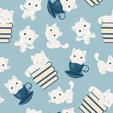 White playful kittens seamless pattern